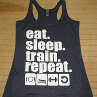 Women's Tri Blend Racerback Tank Top Eat Sleep Train Repeat Work Out