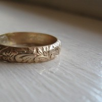 Rustic 14k Gold fill Renaissance Wedding Ring by tinahdee on Etsy