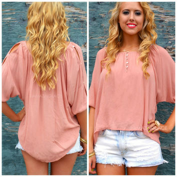 Bodega Bay Light Peach Crepe Top