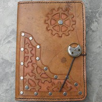 Handmade Tan Leather Steampunk Kindle Cover | lindasgarden - Leather Craft on ArtFire