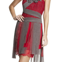 Gray/Red BCBG Runway Pleated Contrast Lace Dress