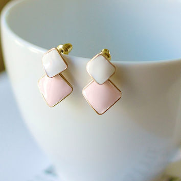 Pastel Pink and White Enamel Double Square Shape Gold Brim Drop Earrings