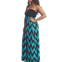 Chevron Print Tube Maxi Dress | Wet Seal