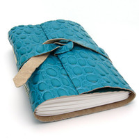 Blue Leather Journal and Sketchbook in by peaseblossomstudio