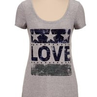 Star stud embellished love tee
