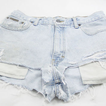 Holes Denim Shorts Recycled Distressed Holey light Jean Women Calvin Klein waist size 32 Short Festival Upcycled Clothing High Waisted