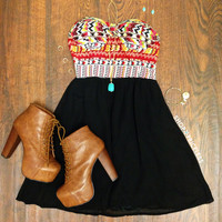 Nia Aztec Dress - Black