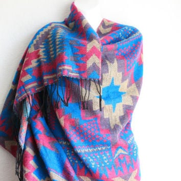 Bohemian Tribal Poncho Scarf Boho Chunky Scarf Winter Wrap Cozy Oversized Scarf Western Poncho Aztec Shawl with fringe ends Gift for her