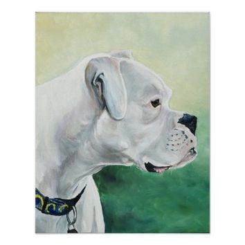 White Boxer Dog Art Print