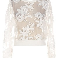 Ivory Garden Sweater | White Mesh Lace Floral Applique Tops | RicketyRack.com