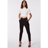 Missguided - Uttara Black High Waisted Cigarette Trousers