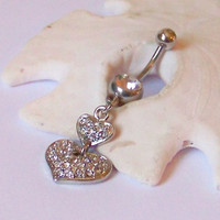 Belly Button Ring - Belly Button Jewelry - Belly Ring - Double Silver Heart With Inlaid CZ Crystals - Made to Order