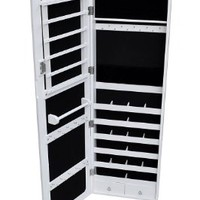 White Mirrored Jewelry Cabinet Armoire Organizer Storage Wall Mount Jewelry Case