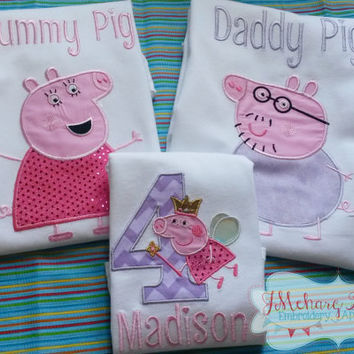 Peppa Pig Family Birthday Custom Tee Shirt - Customizable -  Infant to Adults