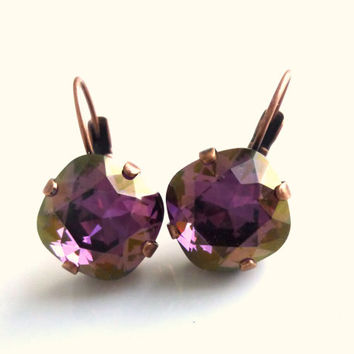Swarovski crystal earrings, 12mm square cut, crystal lilac shadow, lever-back, designer inspired crystal earrings.