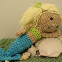 Crochet Mermaid Doll ready to ship by DawnieDolls on Etsy