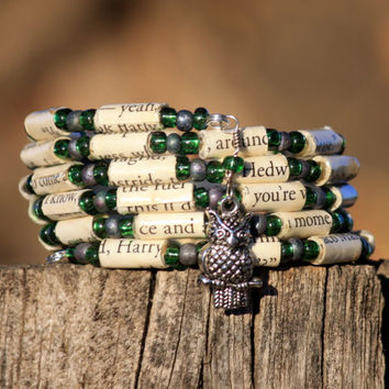 Harry Potter Bracelet Slytherin Paper Bead Bracelet Upcycled from Deathly Hallows Book
