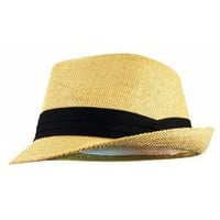 Fedora Hat - Natural Color Straw with Black Band