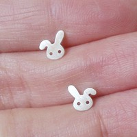 mini bunny rabbit earring studs with floppy ear in sterling silver