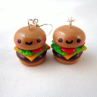 Kawaii Cheeseburger Food Polymer Clay Earrings by DoodieBear