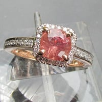 Engagement Ring Round Apricot Spinel in Square by pristinejewelry