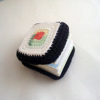 Paper notebook with crochet sushi cover by mohu on Etsy