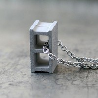 Cement Cinder Block Necklace