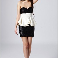 Sequin Bandeau Dress - Party Dresses - Clothing