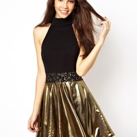 Renee London Skater Dress With Metallic Skirt