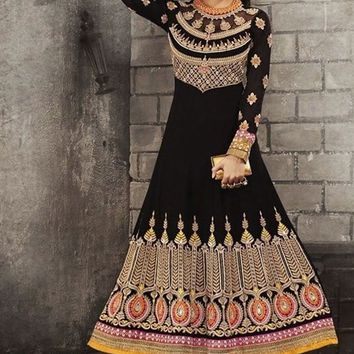Black Georgette Long Anarkali Suit