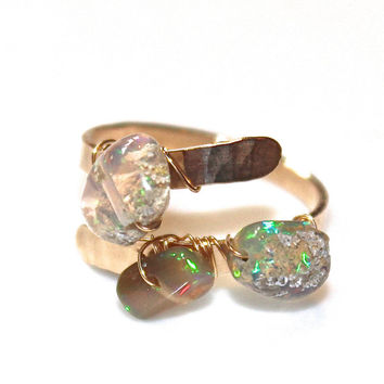 Rustic Ethiopian Opal Ring Modern Ring Three Stone Ring Tumbled Opal Ring Opal Ring Gold Ring Adjustable Ring Opal Jewelry Delicate Ring