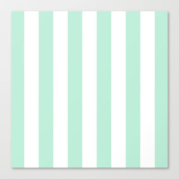 Stripe Vertical Mint Green Stretched Canvas by BeautifulHomes | Society6