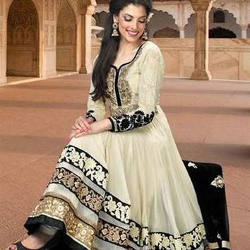Party Wear Georgette Ivory Anarkali Suit