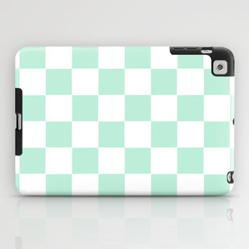 Checkers Square Mint Green iPad Case by BeautifulHomes | Society6