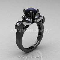 Classic 14K Black Gold 1.0 Ct Black and White Diamond Solitaire Engagement Ring R323-14KBGDBD