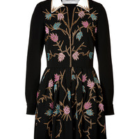 Valentino - Embroidered Crepe Sable Dress