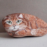 Hand Painted Stone Cat. River Rock Paperweight Home Decor Painting. pebble Cat Collectible. Hand Made. Folk Painting.. 3D Pet.