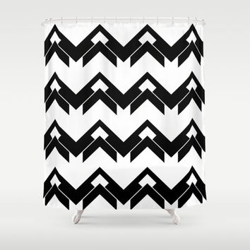 chevron pattern in black and white Shower Curtain by VanessaGF