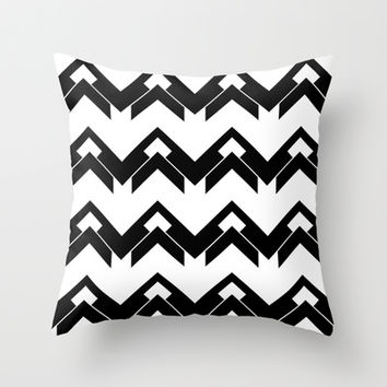 chevron pattern in black and white Throw Pillow by VanessaGF