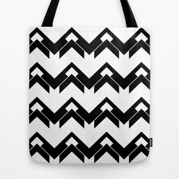 chevron pattern in black and white Tote Bag by VanessaGF