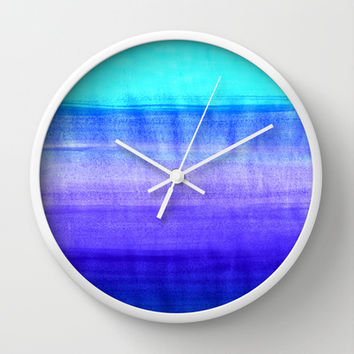 Ocean Horizon - cobalt blue, purple & mint watercolor abstract Wall Clock by Tangerine-Tane