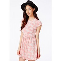 Missguided - Lasla Coral Skater Dress With Flocked Floral Detail