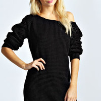 Rita Slash Neck Waffle Knit Jumper Dress