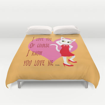 I know you love me Duvet Cover by BATKEI