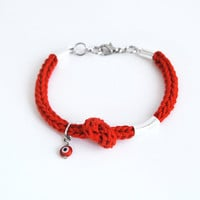 Red evil eye bracelet with knot and tube, red charm bracelet, bracelet with evil eye charm, protective bracelet