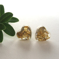 Tiny Heart Resin Earrings, Handmade Resin Jewelry Studs, Post Earrings with Gold Flakes