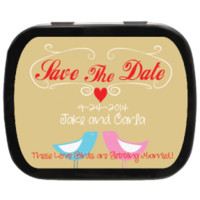 Love Birdies Personalized Save the Date Mint Tins, party favors/candy favors for Engagements, Weddings, and more!