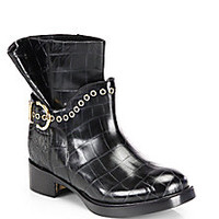 Salvatore Ferragamo - Nolas Croc-Embossed Ankle Boots - Saks Fifth Avenue Mobile