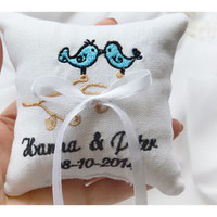 Ring cushion, Lovebrids Embroidered Wedding ring pillow , wedding pillow , ring pillow, ring bearer pillow with Custom embroidery (LR24)