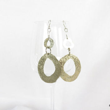 Long geometric earrings, hammered tribal hoops, modern metal jewelry, gift under 45